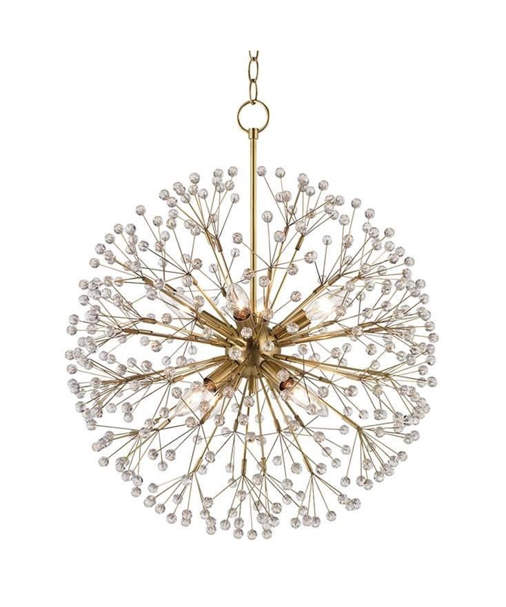 Contemporary Branch Chandelier in Antique Brass Finish